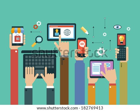 mobile apps concept. Mobile apps concept. Flat design vector illustration. Human hand with mobile phone, tablet, laptop and interface icons - stock vector