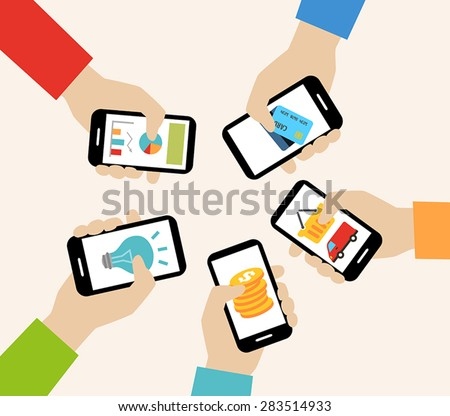 Mobile apps concept - social networking, online business, communication. - stock vector