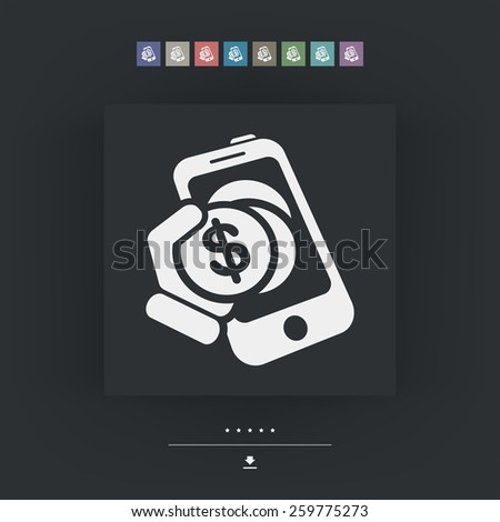 Mobile bank icon - stock vector