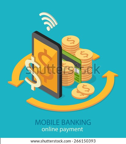 Mobile banking and online payment concept. Flat isometric design. Vector illustration - stock vector