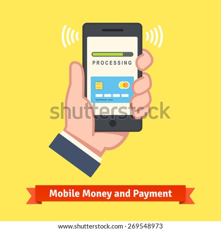 Mobile banking concept. Man hand holding a phone with payment app processing wireless transaction. Flat style vector illustration. - stock vector