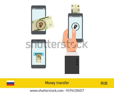 Mobile banking concept. Ruble banknote. Transferring Money vector illustration - stock vector