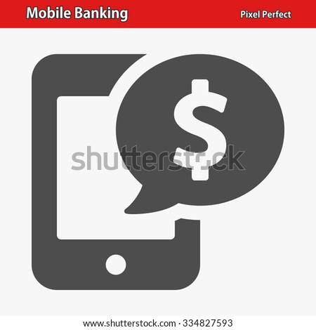 Mobile Banking Icon. Professional, pixel perfect icon optimized for both large and small resolutions. EPS 8 format. - stock vector
