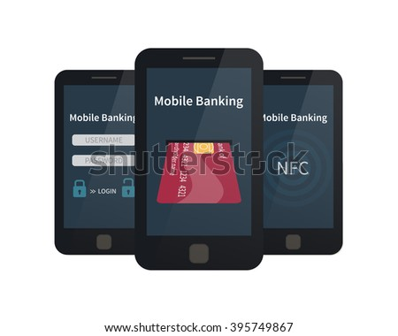 Mobile banking, online payments. Flat vector illustration - stock vector