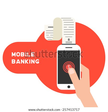 mobile banking with smart phone and paycheck. concept of shopping, innovations, nfc, retail, sale processing, debit. isolated on white background. flat style trendy modern design vector illustration - stock vector