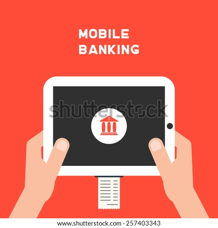 mobile banking with white tablet pc and paycheck. concept of shopping, innovations, nfc, retail, sale processing, debit. isolated on red background. flat style trendy modern design vector illustration - stock vector