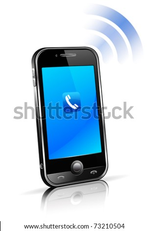 Mobile Cell Smart phone connection technology concept with reflection - stock vector