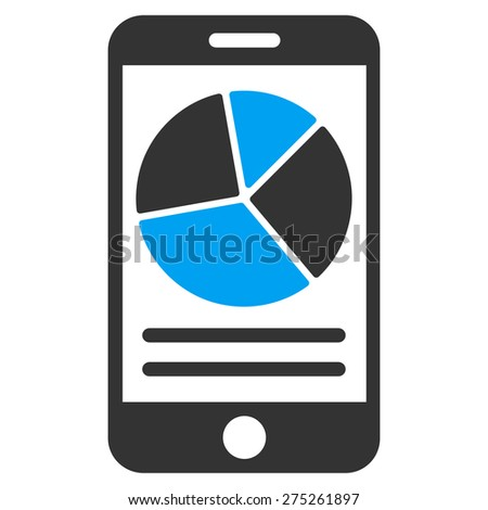 Mobile charts icon. This isolated flat symbol uses modern corporation light blue and gray colors. - stock vector