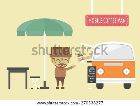 mobile coffee van, hipster lifestyle on street - stock vector