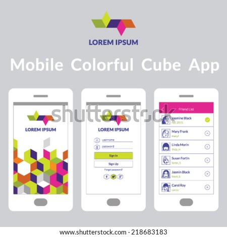 Mobile colorful cube app interface - stock vector