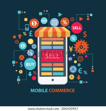 Mobile commerce concept design on dark background,clean vector - stock vector