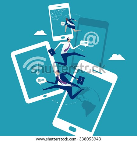 Mobile communication. Social networking. Concept business illustration. - stock vector
