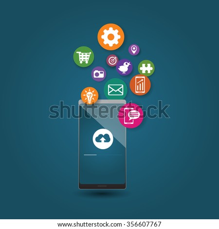 Mobile communication - vector illustration. Vector draw illustration of mobile phone, set mobile apps bubbles on dark background.  - stock vector