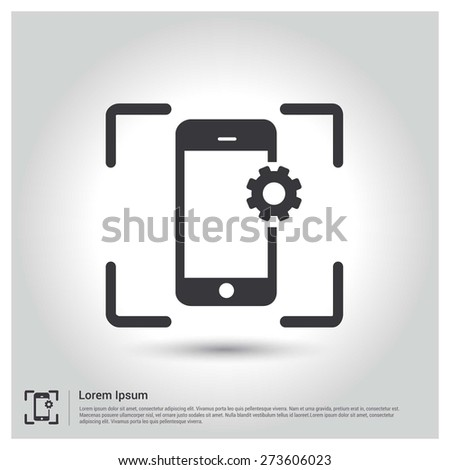 Mobile Configuration Icon Vector illustration, pictogram icon on gray background. Flat design style - stock vector