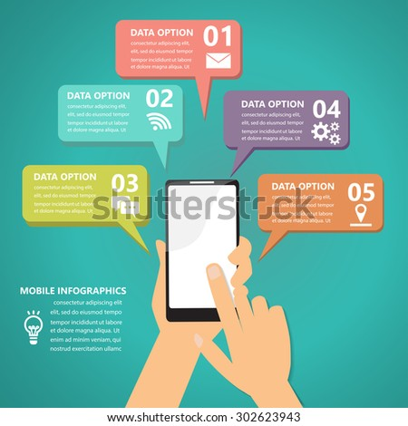 mobile connection infographics element and background. social media icon. Can be used for business data, web design, brochure template, advertising. text can be added. vector illustration - stock vector