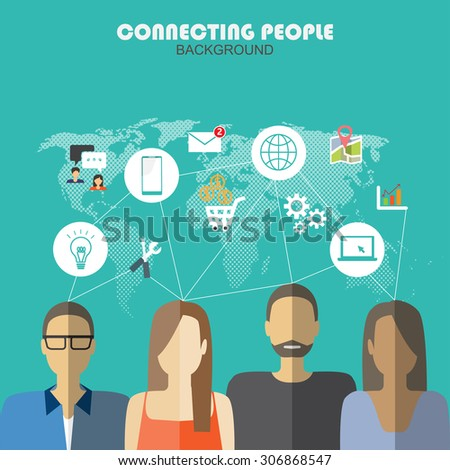 mobile connection social media infographics element and background. social media icon. Can be used for business data, web design, brochure template. text can be added. vector illustration - stock vector