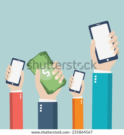 Mobile. design vector illustration. Human hand with mobile phone and interface icons  - stock vector