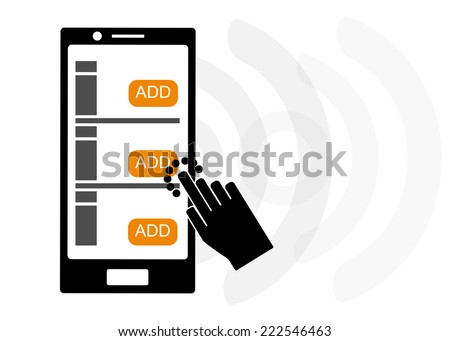 Mobile device set add data transfer over wireless, byod concept - stock vector