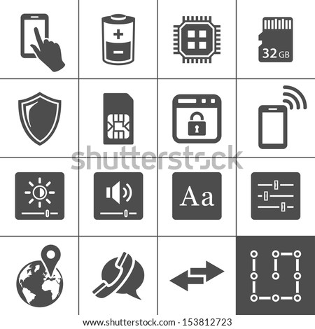 Mobile device settings icons. Tablet PC and smart phone control buttons. Simplus series. Vector illustration - stock vector