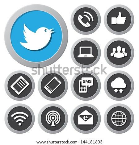 Mobile devices and network icons set. Illustration eps 10 - stock vector