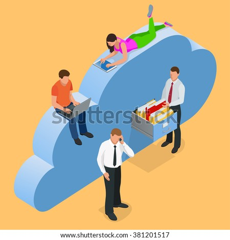 Mobile devices connected on a cloud data storage. Cloud storage concept. Protected cloud storage via smartphone, tablet, laptop Data storage on servers in cloud. Flat 3d isometric vector illustration - stock vector