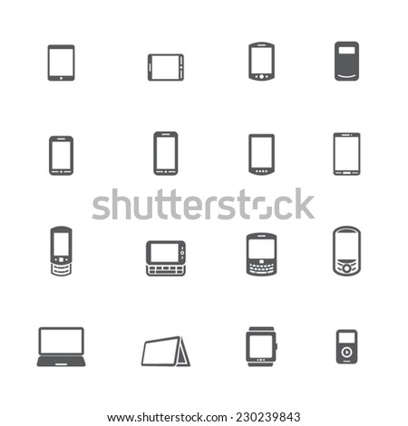 Mobile Devices Icons - stock vector