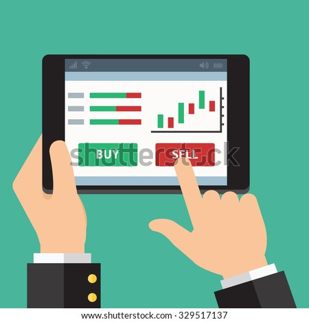 Mobile foreign exchange trading. Vector Flat design - stock vector