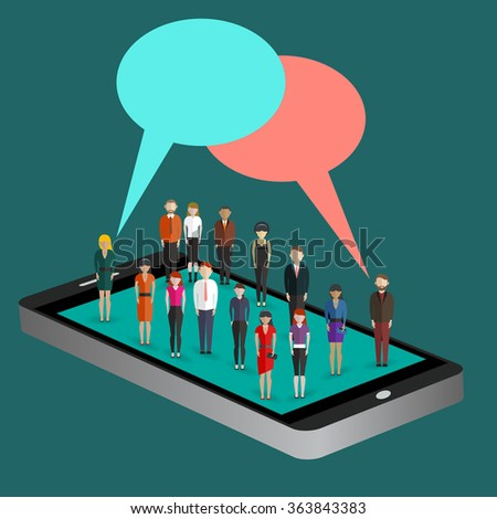 Mobile generation template with crowd of casual micro people with chat bubbles on smart phone touch screen flat 3d web isometric infographic concept vector. Communication addiction. Creative people - stock vector