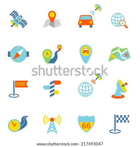 Mobile gps navigation and travel flat icons set isolated vector illustration - stock vector