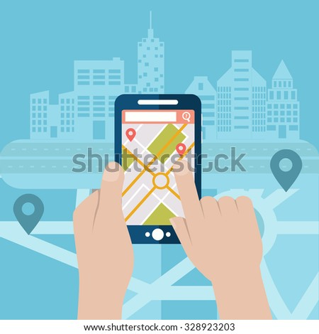 Mobile gps navigation on mobile phone with map and pin vector illustration - stock vector