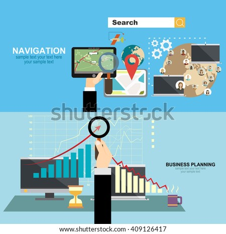Mobile gps navigation on phone with map. Mobile technologies concept.business analysis and planning, financial strategy, consulting, team work, project management and development. - stock vector