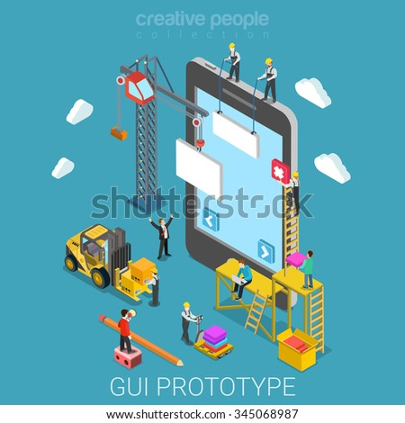 Mobile GUI prototype flat 3d isometry isometric app development concept web vector illustration. Micro people crane building graphical user interface UI/UX usability design. Creative people collection - stock vector