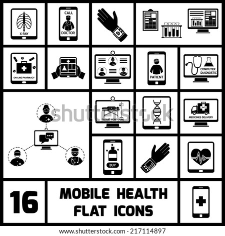 Mobile health call doctor distant monitoring icons black set isolated vector illustration - stock vector