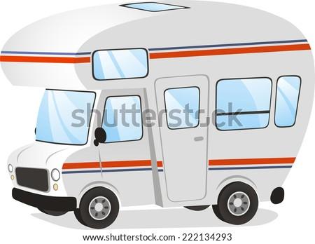 Mobile home Motor home Caravan Trailer Vehicle, vector illustration cartoon.  - stock vector