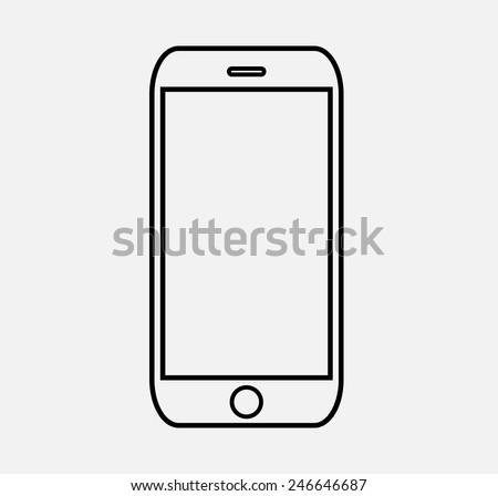 mobile icon vector sketch illustration eps 10 - stock vector