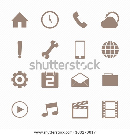 Mobile icons set , Brown color - stock vector