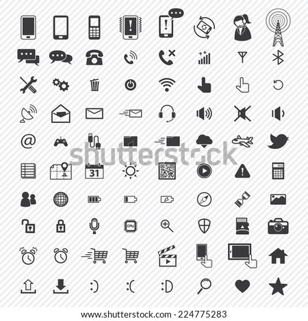 mobile icons set. illustration eps10 - stock vector