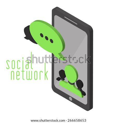 Mobile instant messenger chat in isometric projection.  Vector illustration in flat design of social networks - stock vector