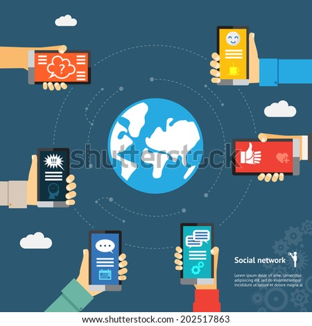 Mobile instant messenger globe network concept. Hands with smartphones around the globe - stock vector