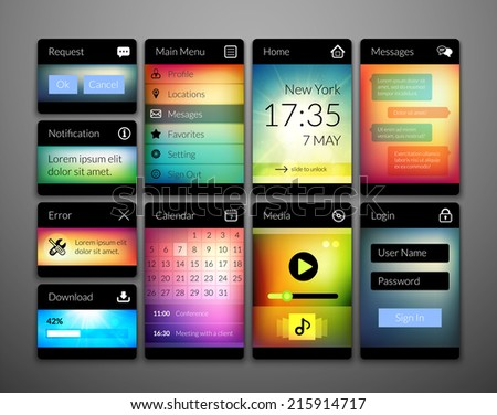 Mobile interface elements with colorful wallpaper, design for applications, panel lists player calendar chat homepage main menu notification error question and download - stock vector