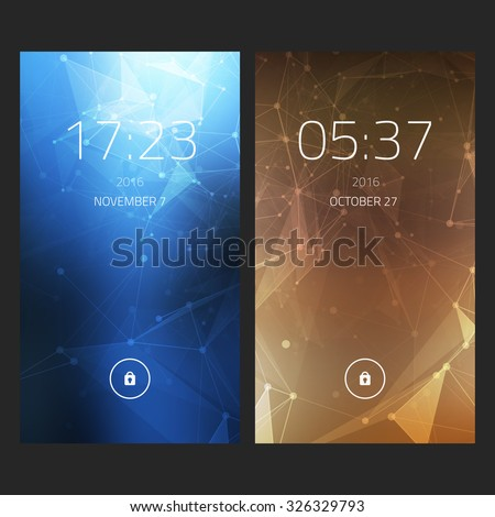 Mobile interface wallpaper design. Set of abstract elegant backgrounds with geometric style for smartphones, mobiles, devices. Clean and modern design - stock vector