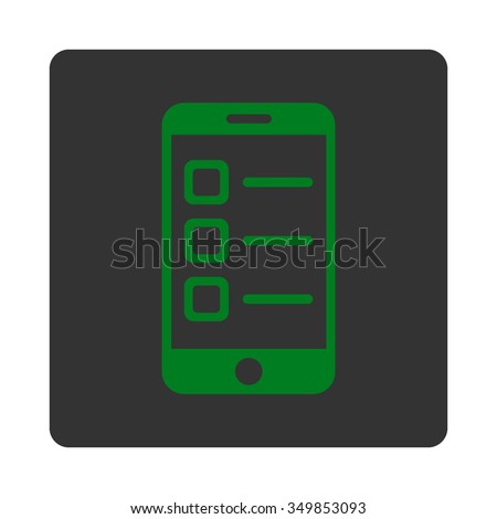 Mobile List vector icon. Style is flat rounded square button, green and gray colors, white background. - stock vector