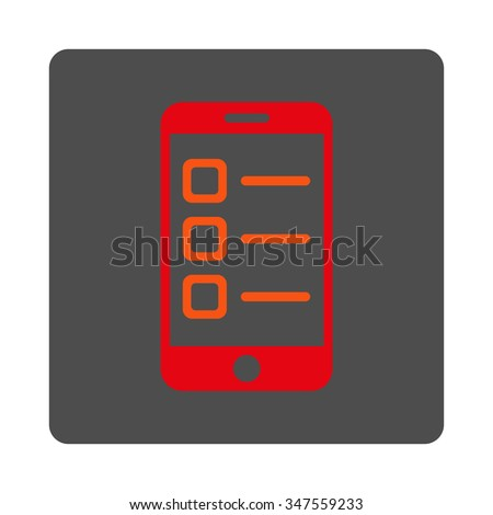 Mobile List vector icon. Style is flat rounded square silver button with red symbol, white background. - stock vector