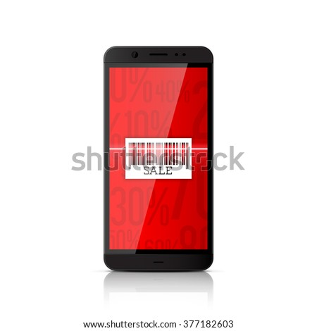 Mobile marketing and online shopping. Smartphone scanning barcode - stock vector