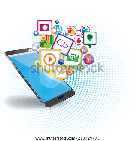 Mobile marketing background - stock vector