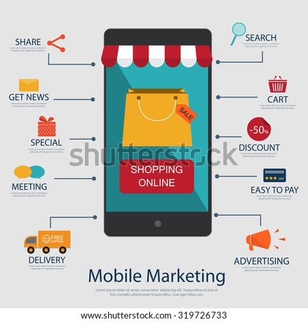Mobile marketing concept with flat icon sale and buy product, Mobile shopping online - stock vector