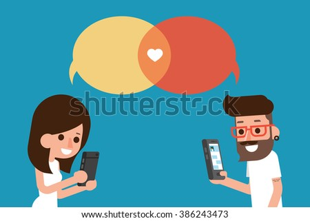 mobile massege chat bubble - stock vector