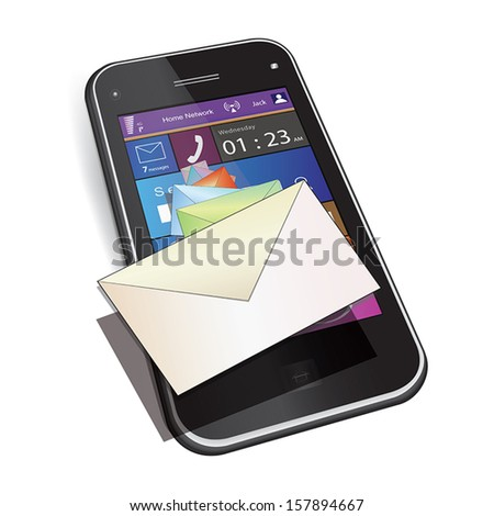 Mobile messaging: Touch screen mobile phone. Set of letter envelopes flies out from display. Vector illustration. Isolated on white background. - stock vector