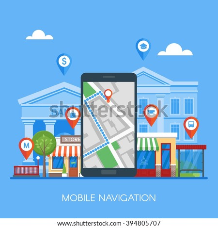 Mobile navigation concept vector illustration. Smartphone with gps city map on screen and route. Check-in symbols. Flat design. - stock vector