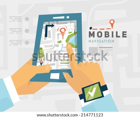 Mobile Navigation. GPS Technology. Mobile Phone with Map. - stock vector